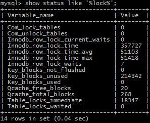 查看mysql状态的常用命令 show status